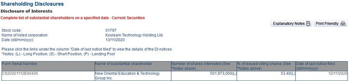 新东方以5282万港币从二级市场买入新东方在线股份-黑板洞察